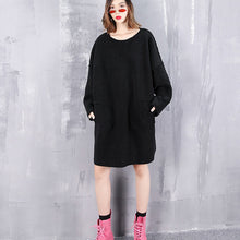 Load image into Gallery viewer, vintage black pure wool tops oversize O neck holiday tops New pockets wool clothing