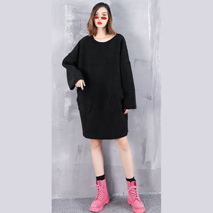 vintage black pure wool tops oversize O neck holiday tops New pockets wool clothing