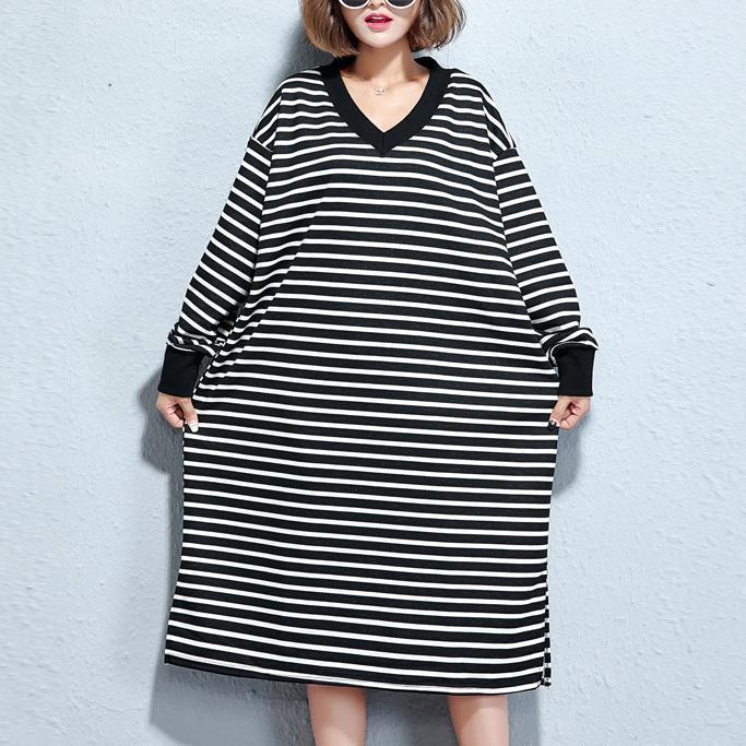 vintage black white striped long cotton dresses oversize v neck cotton maxi dress top quality side open caftans