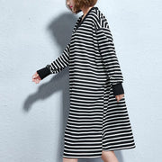 vintage black white striped long cotton dresses oversize v neck cotton maxi dress fine side open caftans