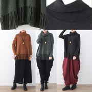 vintage blackish green cozy sweater fall fashion tassel knit sweat tops Elegant high neck shirt