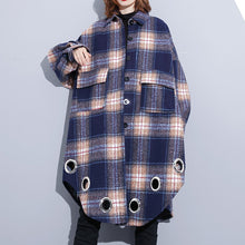 Load image into Gallery viewer, vintage blue Plaid Coats plus size Turn-down Collar Winter coat boutique pockets coat