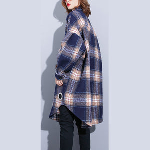 vintage blue Plaid Coats plus size Turn-down Collar Winter coat boutique pockets coat