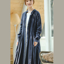 Load image into Gallery viewer, vintage blue coat oversize stand collar long coat vintage long sleeve large hem Coat