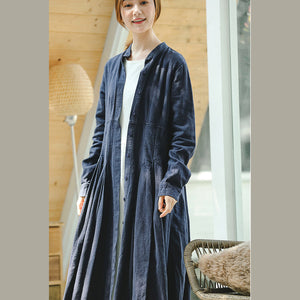 vintage blue coat oversize stand collar long coat vintage long sleeve large hem Coat