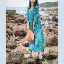 Load image into Gallery viewer, vintage blue floral linen caftans oversize o neck baggy dresses caftans New Three Quarter sleeve tie waist gown
