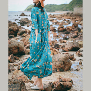 vintage blue floral linen caftans oversize o neck baggy dresses caftans New Three Quarter sleeve tie waist gown