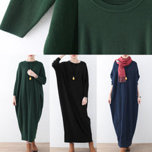Load image into Gallery viewer, vintage blue knit dress plussize winter dresses Fine batwing sleeve winter dress