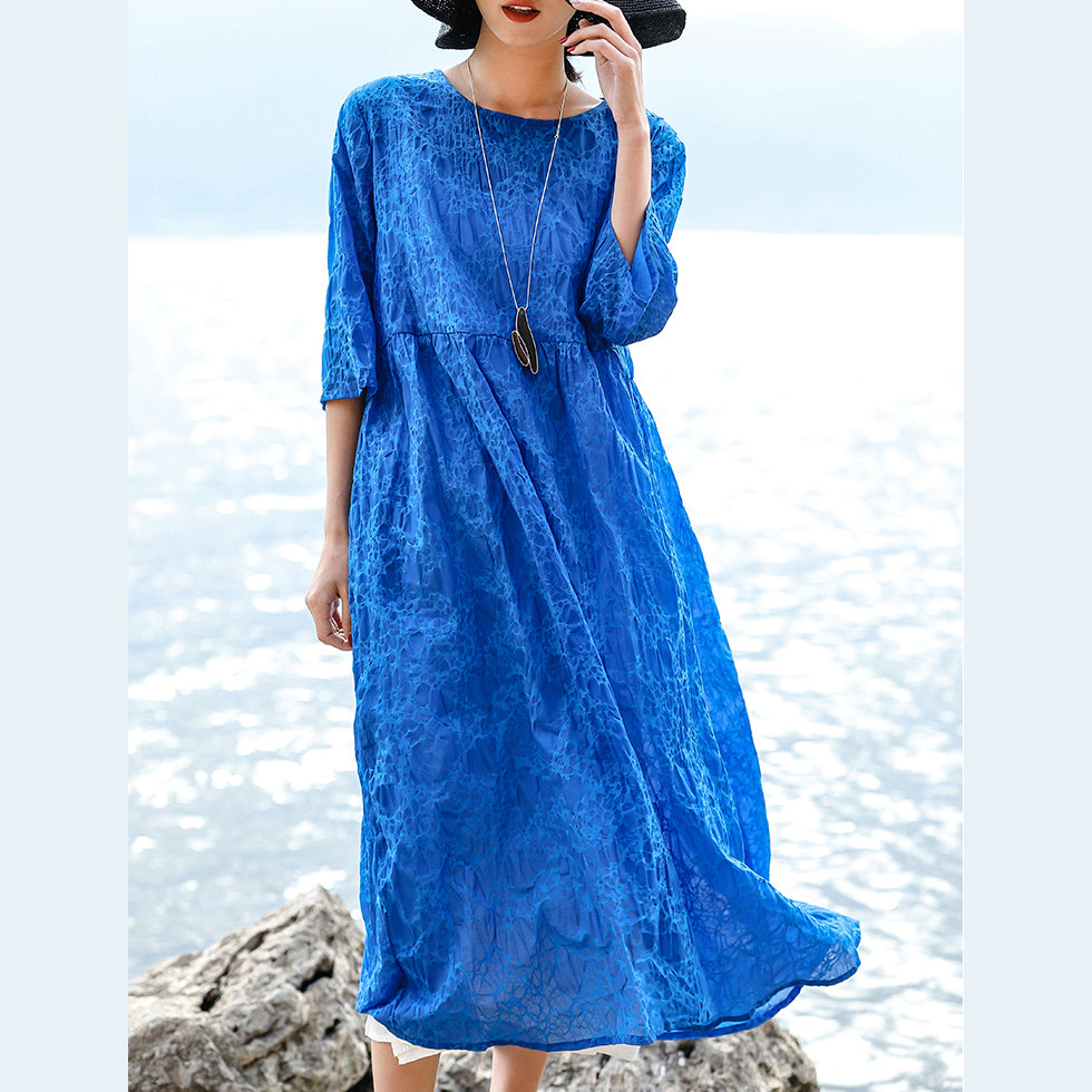 vintage blue natural silk linen dress Loose fitting O neck silk linen clothing dresses women Three Quarter sleeve baggy dresses