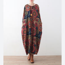 Load image into Gallery viewer, vintage blue red prints sweater dresses plus size clothing sweater casual o neck winter dress