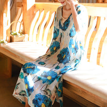 Load image into Gallery viewer, vintage blue white print linen maxi dress Loose fitting V neck linen gown top quality half sleeve baggy dresses
