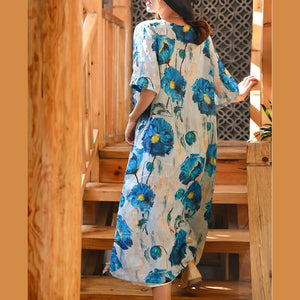vintage blue white print linen maxi dress Loose fitting V neck linen gown top quality half sleeve baggy dresses