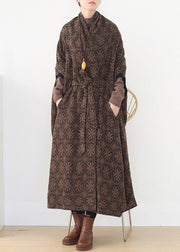 vintage brown wool coat plus size v neck trench coat cloak woolen outwear