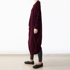 vintage burgundy knit dresses fall fashion o neck pullover women low high design long knit sweaters
