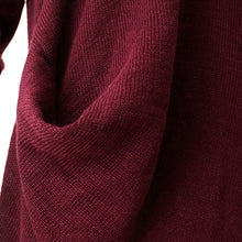 Load image into Gallery viewer, vintage burgundy knit dresses fall fashion o neck pullover women low high design long knit sweaters