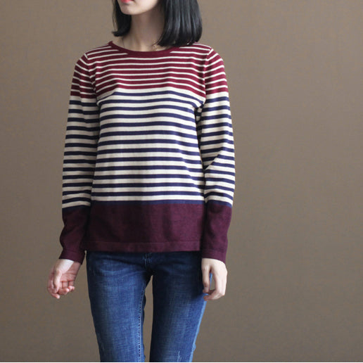 vintage burgundy striped patchwork cotton knit tops casual elastic sweater