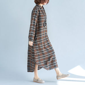 vintage chocolate Plaid cotton linen caftans plus size Turn-down Collar baggy dresses casual long sleeve dresses