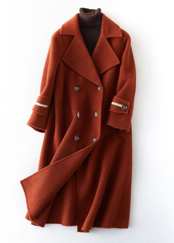 vintage chocolate Woolen Coats Women plus size long coat double breast woolen outwear Notched