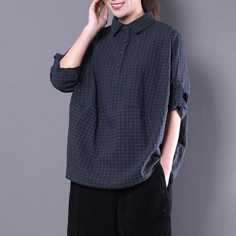 vintage cotton blended tops oversized casual women polo Collar Long sleeve green plaid shirt