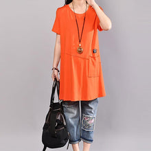 Load image into Gallery viewer, vintage cotton blouses casual Casual Round Neck Short Sleeve Women Orange T Shirt