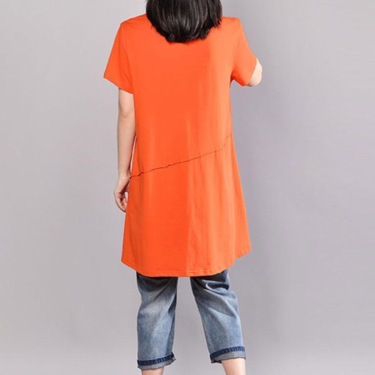 vintage cotton blouses casual Casual Round Neck Short Sleeve Women Orange T Shirt