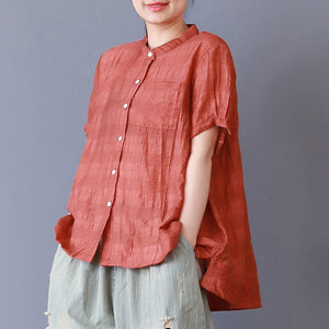 vintage cotton blouses plus size Stand Collar Loose Single Breasted Casual Red Shirt