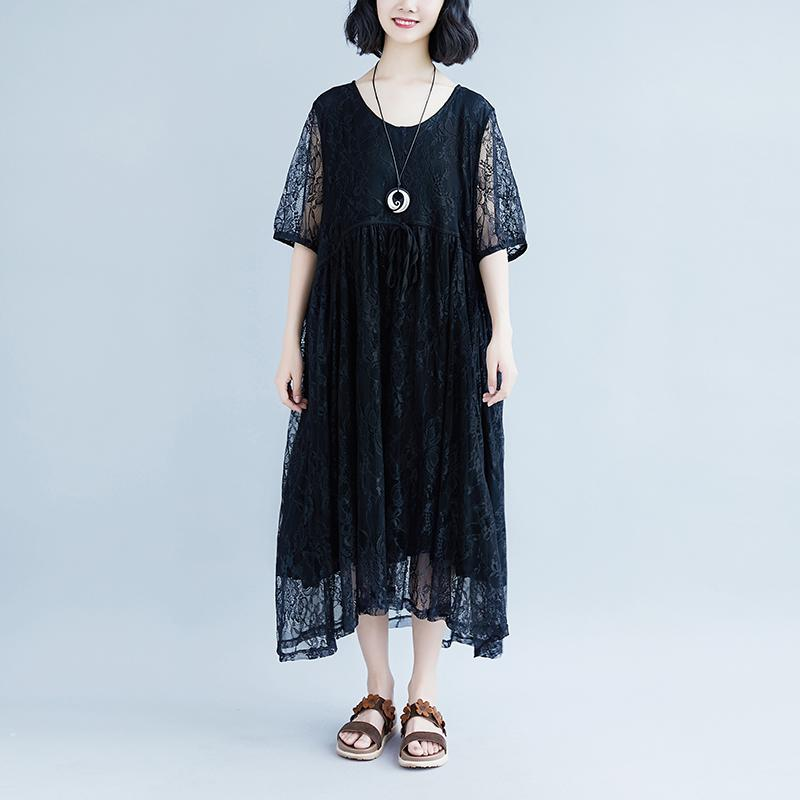 vintage cotton dress plus size Lacing Summer Short Sleeve Casual Fake Two-piece Black Dress