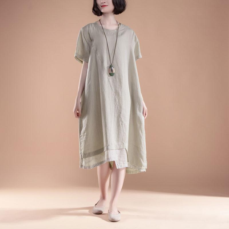 vintage cotton gown plus size Short Sleeve Fake Two-piece Summer Casual Khaki Dress