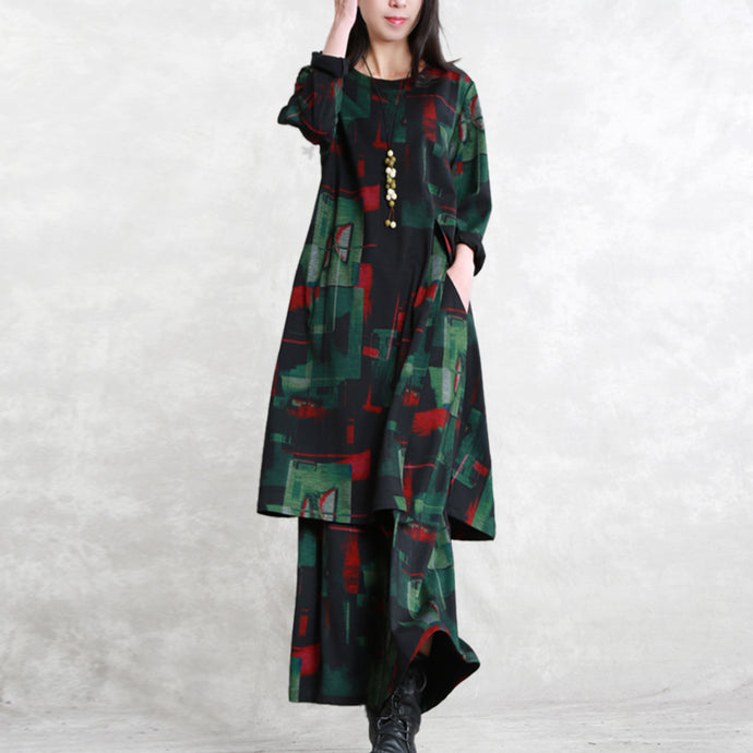 vintage floral cotton blended two pieces caftans Loose fitting o neck pockets gown 2018 long sleeve side open tops elastic waist trouse
