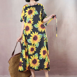 vintage floral natural linen dress oversized O neck traveling dress 2018 short sleeve baggy dresses linen caftans
