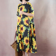 Load image into Gallery viewer, vintage floral natural linen dress oversized O neck traveling dress 2018 short sleeve baggy dresses linen caftans