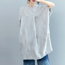Load image into Gallery viewer, vintage gray Plaid Midi-length linen dress casual linen clothing dress Fine Batwing Sleeve o neck baggy dresses