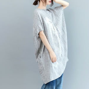 vintage gray Plaid Midi-length linen dress casual linen clothing dress Fine Batwing Sleeve o neck baggy dresses