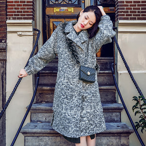 vintage gray Wool Coat Loose fitting Notched long coat 2018 side open coat
