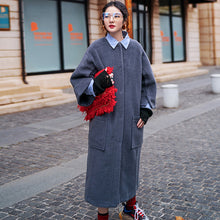 Load image into Gallery viewer, vintage gray long coat oversized O neck Wool Coat boutique flare sleeve pockets long coat