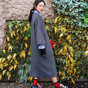 vintage gray long coat oversized O neck Wool Coat boutique flare sleeve pockets long coat