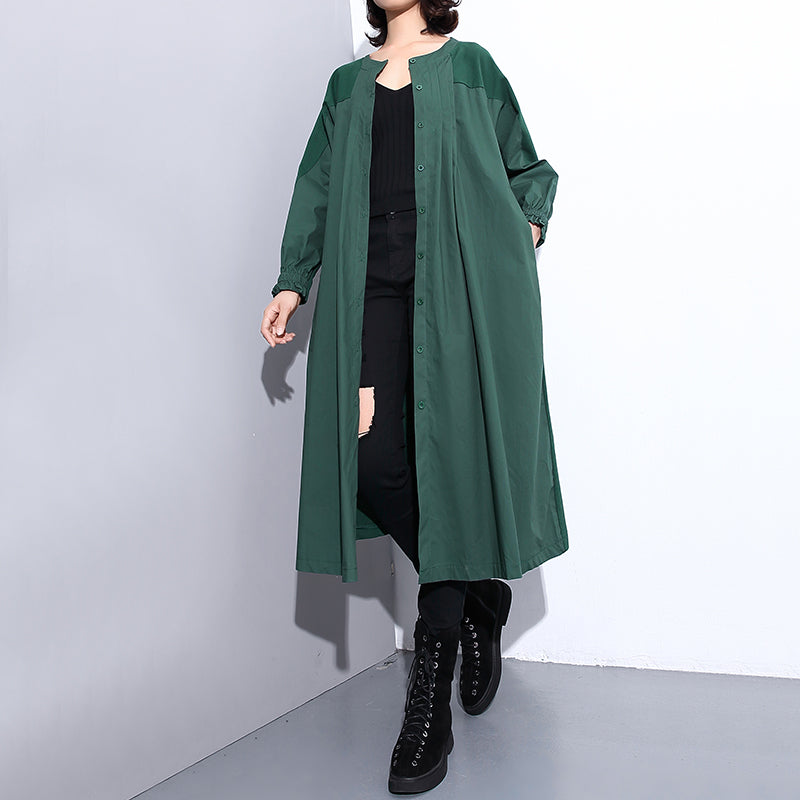 vintage green Coat plus size stand collar Winter coat women pockets patchwork Coats