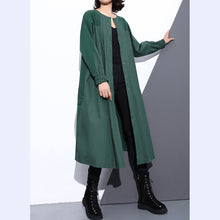 Load image into Gallery viewer, vintage green Coat plus size stand collar Winter coat women pockets patchwork Coats