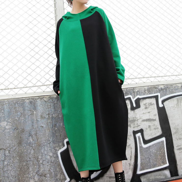 vintage green cotton caftans trendy plus size patchwork cotton clothing dress casual hooded caftans