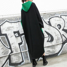 Load image into Gallery viewer, vintage green cotton caftans trendy plus size patchwork cotton clothing dress casual hooded caftans