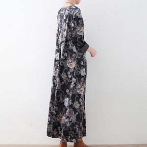 vintage green floral corduroy maxi dress plus size elastic waist clothing dress Elegant o neck kaftans