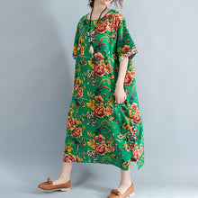 Load image into Gallery viewer, vintage green linen dresses oversized floral cotton gown Elegant short sleeve linen clothing dress
