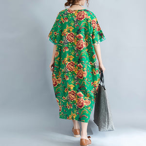 vintage green linen dresses oversized floral cotton gown Elegant short sleeve linen clothing dress