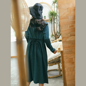 vintage green striped dresses trendy plus size pockets vintage o neck dresses