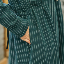 Load image into Gallery viewer, vintage green striped dresses trendy plus size pockets vintage o neck dresses