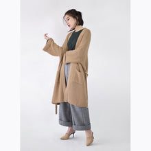 Load image into Gallery viewer, vintage khaki Coats trendy plus size flare sleeve tie waist Winter coat top quality pockets wool jackets
