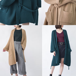 vintage khaki Coats trendy plus size flare sleeve tie waist Winter coat top quality pockets wool jackets