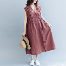 Load image into Gallery viewer, vintage khaki cotton linen dresses Loose fitting cotton linen clothing dress New Sleeveless wrinkled v neck baggy dresses