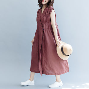 vintage khaki cotton linen dresses Loose fitting cotton linen clothing dress New Sleeveless wrinkled v neck baggy dresses
