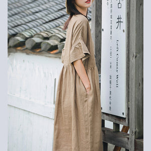 vintage khaki long linen dress plus size O neck baggy dresses linen clothing dress boutique Butterfly Sleeve dresses